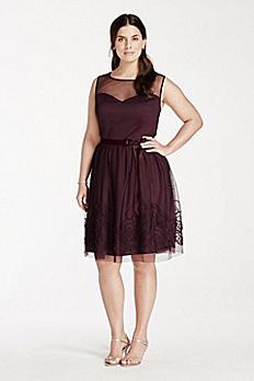 Sleeveless Illusion Neckline Dress with Satin Belt EJ4M6898W