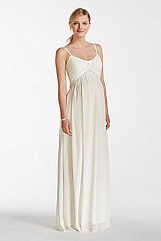 Chiffon A-line Maternity Dress with Pearl Waist EJ5M7575