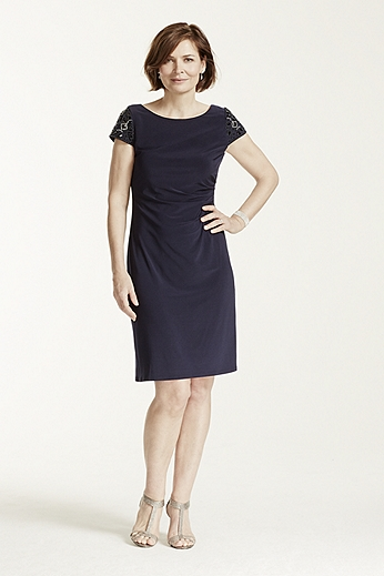 Cap Sleeve Jersey Dress with Beaded Shoulders EJDM7280