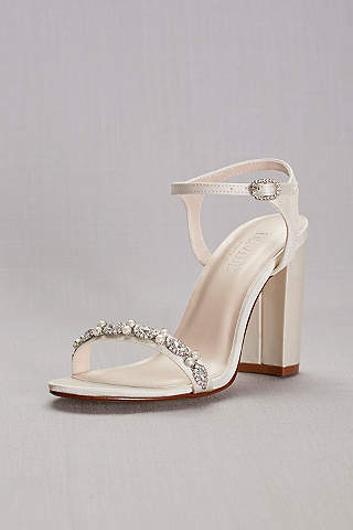 Beau Davidu0027s Bridal Ivory Sandals (Embellished Satin Block Heel Sandals)