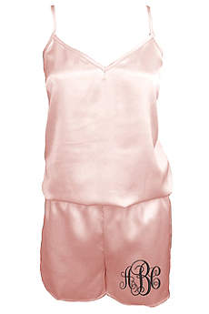 Personalized Embroidered Monogram Satin Romper
