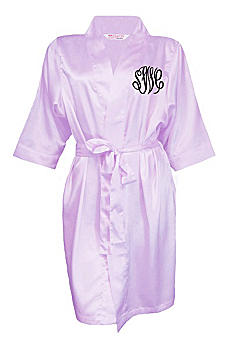 Personalized Embroidered Monogram Satin Robe EMBMONOROBE