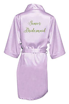 Embroidered Junior Bridesmaid Satin Robe