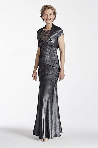 Long Stretch Taffeta Gown with Cap Sleeve Jacket ES586DB