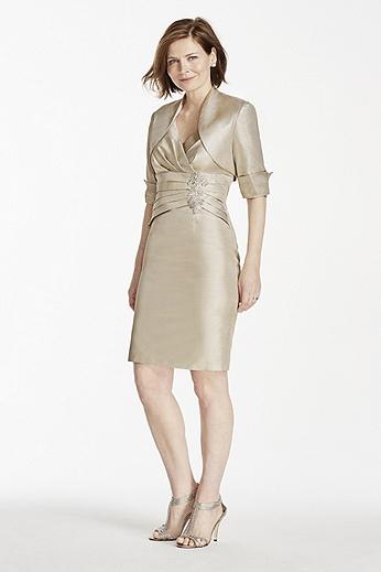 Metallic Brocade Two Piece Jacket Dress ES696DB