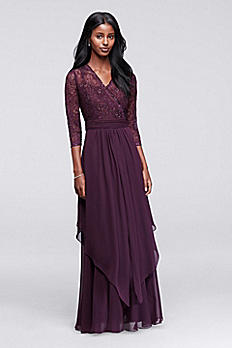 3/4 Sleeve Beaded Illusion Lace and Chiffon Dress ES727DB