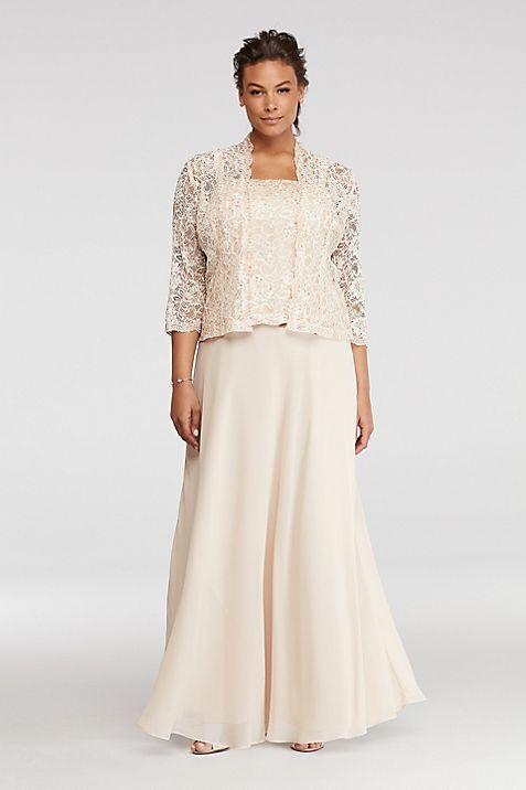 Petite Plus Size Dress with Sequin Lace Jacket | David\'s Bridal