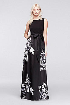 Long A-Line Dress with Bold Printed Floral ESHMP005