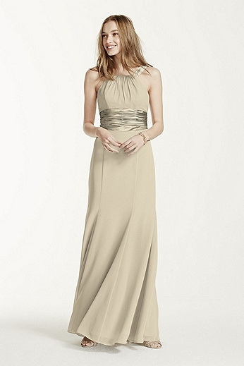 Chiffon and Charmeuse Dress with Rounded Neckline F12732