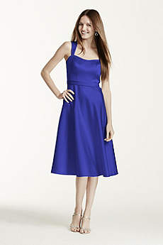 Satin Wide Strap Tea Length Dress