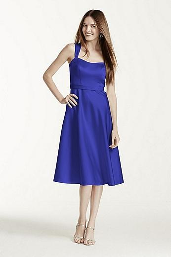 Satin Wide Strap Tea Length Dress F14556