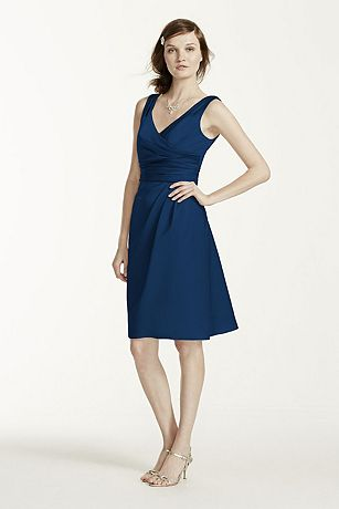 Short Sleevess Satin Dress with Ruched Waist