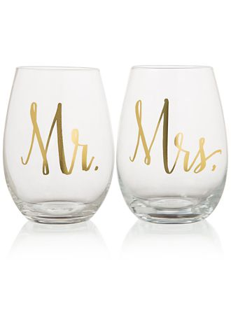 mr and mrs stemless wine glasses