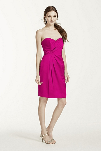 Strapless Satin Short Dress with Pleating F15103