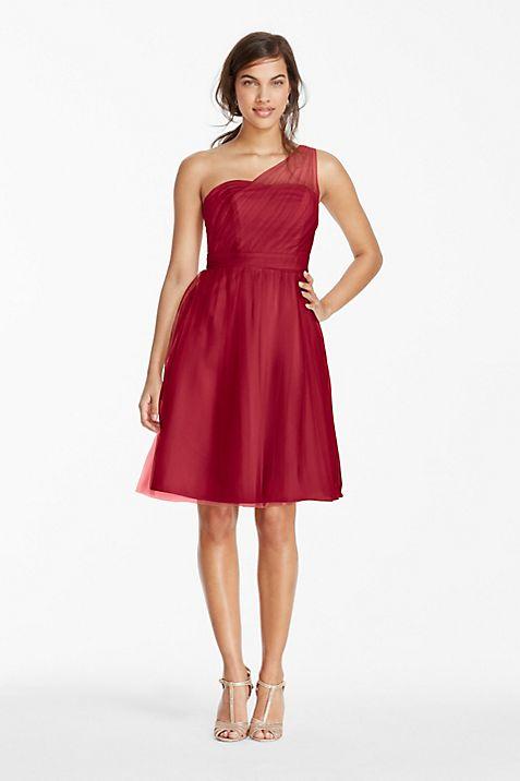 Short One Shoulder Tulle Bridesmaid Dress   David\'s Bridal