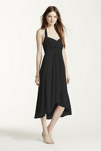 Crinkle Chiffon High Low Halter Dress F15417