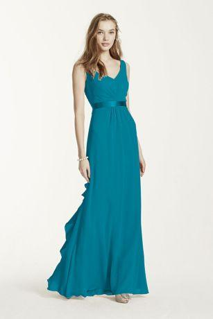 Sleeveless Chiffon Dress with Ruffled Back Detail - Davids Bridal