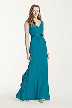 Sleeveless Chiffon Dress with Ruffled Back Detail F15530
