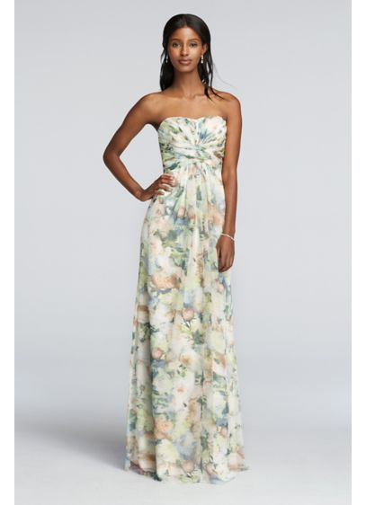 Long Chiffon Printed Dress Pleated Detail | David\'s Bridal