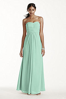 Long Strapless Chiffon Dress and Pleated Bodice F15555