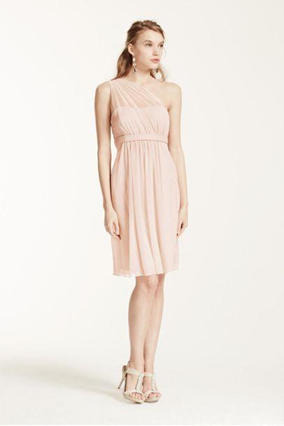 One Shoulder Short Dress with Illusion Neckline | David's Bridal