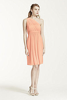 One Shoulder Short Dress with Illusion Neck F15607