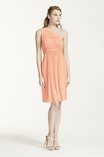 One Shoulder Short Dress with Illusion Neckline F15607
