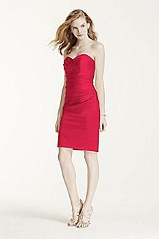 Short Stretch Satin Dress with Sweetheart Neckline F15615