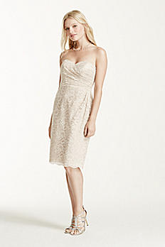 Short Strapless All Over Metallic Lace Dress F15620M
