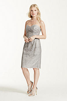 Extra Length Short Strapless All Over Lace Dress 2XLF15620M