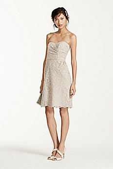 Short Strapless All Over Lace Dress F15620