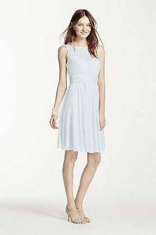 Soft Flowy David S Bridal Short Bridesmaid Dress