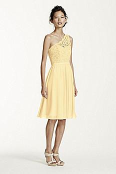 Short One Shoulder Corded Lace Dress F15711