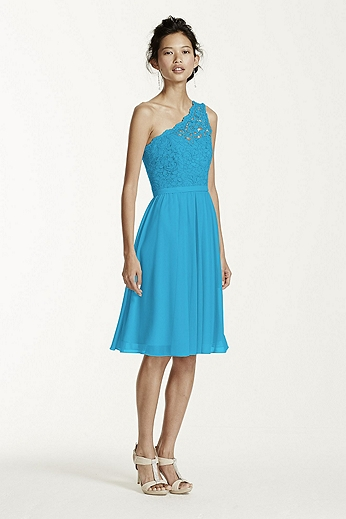 Short One Shoulder Corded Lace Dress F15711