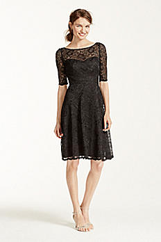 Short Lace Dress with Illusion Neck and Sleeves F15721