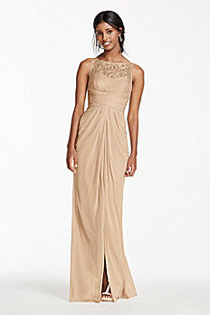 Sleeveless Mesh Metallic Dress with Corded Lace F15749M