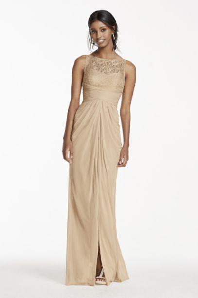 Sleeveless Mesh Metallic Dress with Corded Lace | David's Bridal