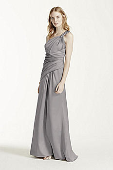 Long Stretch Satin One Shoulder with Pleats F15752