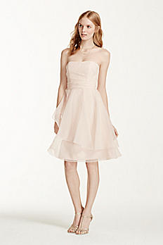 Short Strapless Organza Dress with Full Skirt F15902