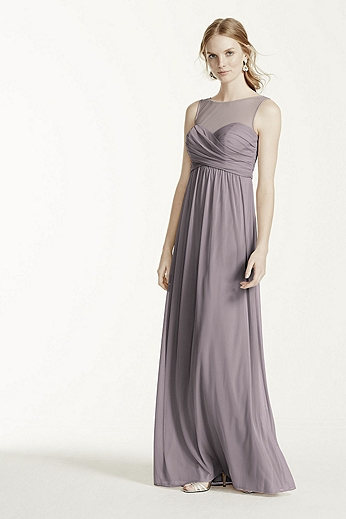 Long Mesh Dress with Illusion Neckline F15927