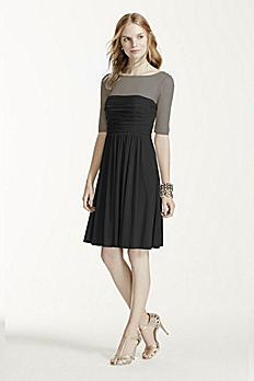 Elbow Sleeve Short Mesh Dress F15962