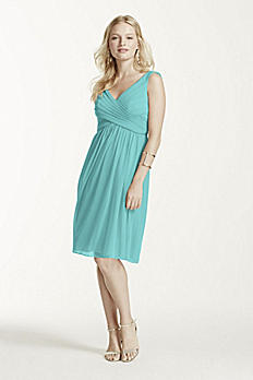 Short Mesh Bridesmaid Dress with Cowl Back F16007