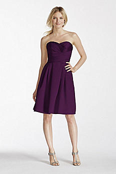 Short Strapless Satin Dress with Pockets F17001