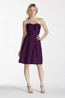 Structured David's Bridal Short Bridesmaid Dress