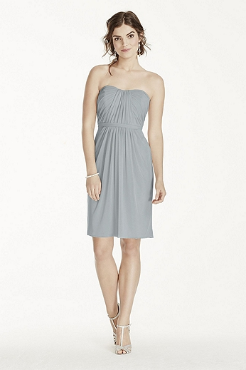 Short Strapless Mesh Dress with Pleated Bodice F17010