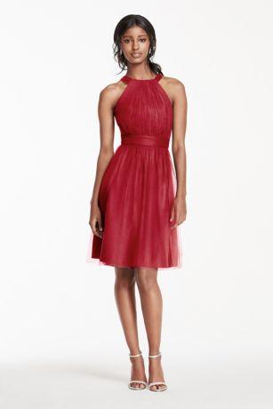 red short tulle dresses