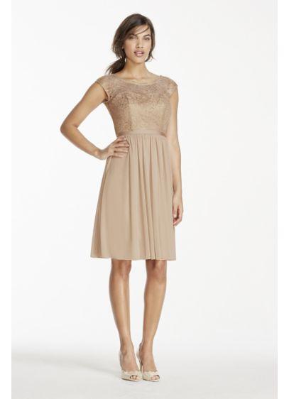 Short Metallic Lace and Mesh Dress | David's Bridal