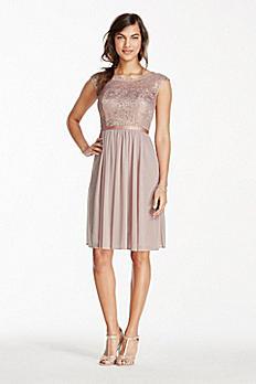 Short Metallic Lace and Mesh Dress F17019M