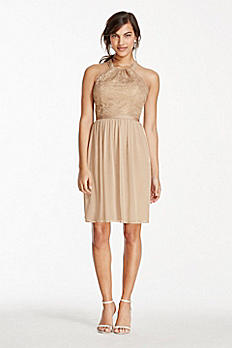 Extra Length Metallic Halter Lace and Mesh Dress 2XLF17020M