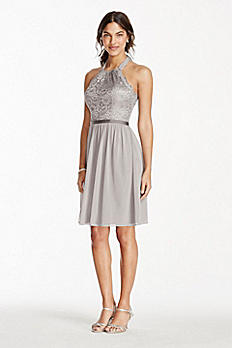Short Halter Metallic Lace and Mesh Dress F17020M